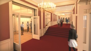 The main lobby will be on the same level as the alley entrance and the Heritage room to provide easier access for all patrons. A lift platform will provide access from the lobby level to the theater level. The doors will be widened to ADA specifications.